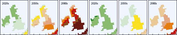 forventet udvikling i sommer- og vintertemperatur i år 2020. 2050 og 2080 (se stort billede nedenfor for detaljer)