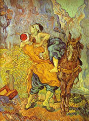 Van Goghs billede af den barmhjertige samaritan, malet efter Delacroix i 1890