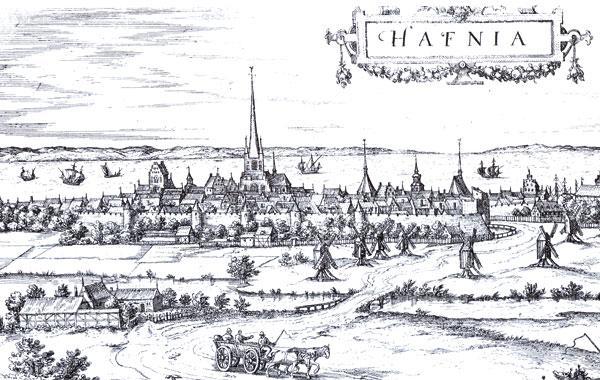 byprospekt af København fra 1587 set fra Valby Bakke