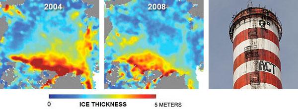 NASA-satellitmålinger der grafisk viser hvordan havisen ved Nordpolen stadig bliver tyndere