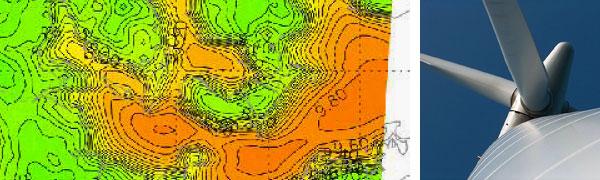 udsnit af vindkort over danske farvande - klik for fuldt kort