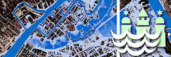 muligt oversvømmelsesscenario for år 2100 - illustration fra klimatilpasningsplanen
